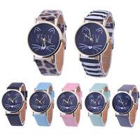 Fashion Women's Casual Watch Cute Cat Analog Leather Band Quartz Wrist Watches