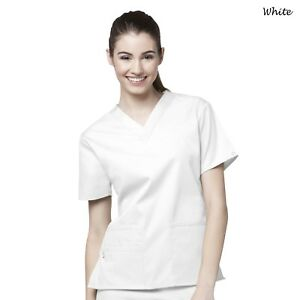 WonderWink Scrubs ORIGINS Women's Medical Bravo Solid V-Neck Top 6016 XXS-5X