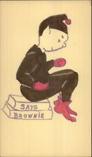 Handmade Hand Colored - Brownie Elf Fantasy  Postal Card