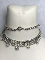 1950s Bib Style Necklace Clear Glass Paste Vintage Jewellery Jewelry Retro Old