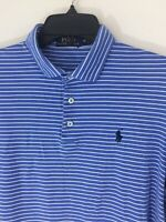 Ralph Lauren Polo Medium Mens Blue & White Stripe Polo Golf Shirt Blue Pony Logo