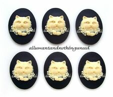 6 IVORY color CAT & Flowers on BLACK 40mm x 30mm Costume Jewelry craft CAMEOS