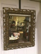 Antique 19th c.Italian wall Mirror,detailed hand Sculptured gold gilt wood frame