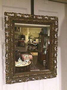 Antique 19th c.Italian wall Mirror,detailed hand Sculptured gold gilt wood frame