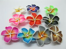 20 New Fimo Beads Frangipani w/Rhinestone Mixed Color