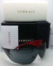 New VERSACE Sunglasses VE 2054 1001/87 115 Gunmetal & Black Frames w/Grey Lenses