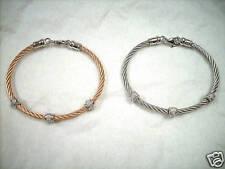WOMENS STAINLESS STEEL CABLE BRACELET GENUINE DIAMONDS