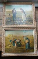 Paire de cadres ancien en bois avec chromolithographie Millet, ancienne chromo
