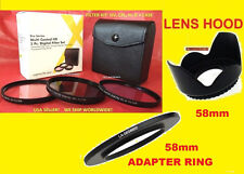 RING ADAPTER+FILTER KIT+LENS HOOD 4> CAMERA FUJI FINEPIX S8600 58mm CPL,UV,FDL