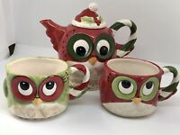 Christmas Owl Bird Porcelain Teapot And Mugs by Laurie Furnell