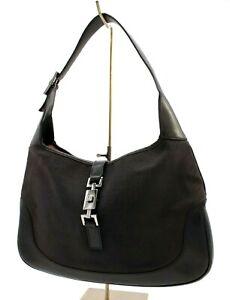 【Rank AB】 Authentic Gucci Jackie Shoulder Hand Bag Purse GG Canvas Black Leather