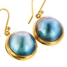 """3/4"""" PACIFIC BLUE MABE PEARL VERMEIL 24K GOLD ON 925 STERLING SILVER earrings"""