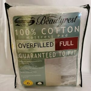 """Simmons Beautyrest Overfilled Full Size Mattress Pad 53"""" x 75"""" NEW NOS"""