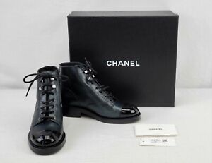 New Chanel Women's Lace-up Boots in Black Size 8 - BBJ1139