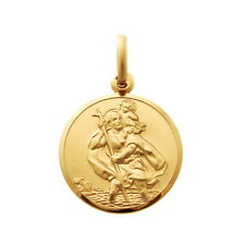 CHILDRENS KIDS 9CT GOLD ST SAINT CHRISTOPHER PENDANT CHAIN NECKLACE WITH BOX
