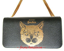 AUTH GUCCI Garden Gold Black Leather CAT HANDBAG Florence Italy New + Box + Bag
