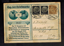 1937 Leipzig Germany Postcard Cover to USA Stamp Day CAncel Luxemburg Congress