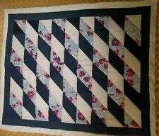 Blue White Floral Diamonds Vintage Baby or Lap Quilt Machine Sewn Hand Quilted