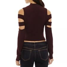 Bold Elements Cut Out Cold Shoulder Crop Top Sweater
