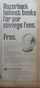 1968 newspaper ad for City Nat. Bank Arkansas Razorback Helmut Bank premium
