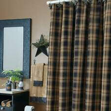 NEW MONROE SHOWER CURTAIN BLACK BROWN PLAID COTTON PRIMITIVE COUNTRY FARMHOUSE