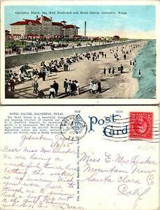 Galveston TX Galveston Beach Sea Wall Blvd Postcard Used (41841)