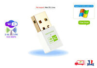 600Mbps USB WiFi Adapter Dongle 11ac Dual Band 2.4GHz 5GHz PC Network LAN blanch