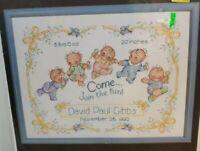 "Janlynn Cross Stitch Kit HAPPY BABIES BIRTH Sampler #125-38 - 14""x11"""