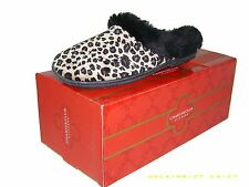 Charter Club Women's Micro-Velour Faux Fur Slippers - Leopard - Sz Small (5-6)
