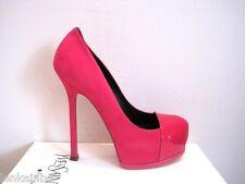 YSL Yves Saint Laurent Tribtoo 105 Cap Toe Fuchsia Pink Pumps Shoe 38.5 8.5 $795
