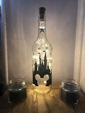 Mickeys Castle Disney, Light up wine bottle, LED light, Decal,