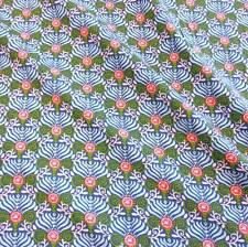 Stoff Baumwolle Meterware Ornamente Fächer blau weiß grün koralle Kleiderstoff