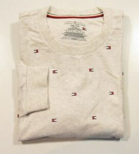 Tommy Hilfiger Men's All Over Logo Oat Long Sleeve French Terry Shirt