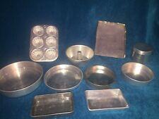 VINTAGE TIN ALUMINUM TOY DISH BAKING SET DISHES CAKE PANS,CUPCAKE,TUBE,CANISTER