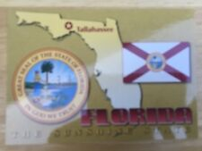 """Postcard-Unused Florida Map """"The Sunshine State"""" With Flag And Seal Of The State"""