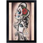Rosie Y Que by Dave Sanchez Mexican Sugar Skull Skeleton Latina Framed Art Print