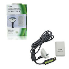 Microsoft Xbox 360 WHITE Play and Charge Pack w/ Rechargeable Battery Hexir (6')
