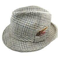 Men's Botany 500 Vintage Wool Tweed Fedora Hat Grey Brown Sz M