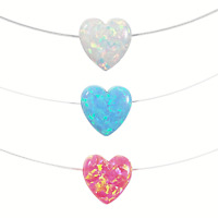 Heart Necklace. Lab Created Opal Floating illusion Clear Fishing Line Nylon