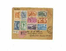 Ethiopia Empire 1947 registered cover Addis Abeba Columbia, LA New Orleans