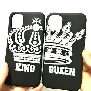 Crown King Queen Matching Couple Phone Case for iphone 11 12 Pro Max X XR 6 7 8+
