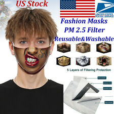 3D-Print Funny Face Mask Protective Washable Reusable Adult-Unisex PM2.5 Filters