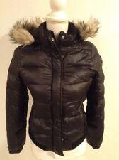 American Eagle AEO Get Down Black Hooded Puffer Coat Jacket Faux Trim Sz S EUC
