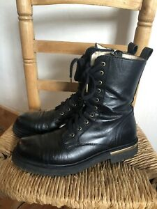Russell And Bromley Black Leather Combat Boots  Size 38/5