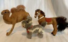 "Lot 3 Vintage Kunstlerschutz Handwork MINIATURE Horse W GERMANY 3.5"" Camel & Dog"