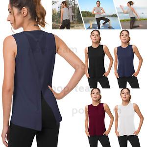 Womens Ladies Mesh Activewear Yoga T Shirt Workout Sports Running Gym Tank Top