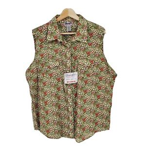 New Wrangler Womens Wrancher Western Pearl Snap Shirt Sleeveless Floral Size 3XL