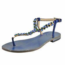 Emanuela Caruso Capri Women's Stones Trimmed Flat Sandals Shoes Size 5 9