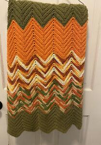 "Vintage Retro Chevron Crochet Afghan Blanket Size 88"" x 42"" Orange  Green Fall"