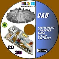 LATEST 2D & 3D PROFESSIONAL CAD COMPUTER AIDED DESIGN SOFTWARE WINDOWS + MANUALS